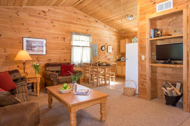 Living area of 2 bedroom cabin with kitchen and dining table