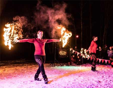 fire dancers at cambridge vermont winterfest