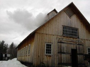 Sugar house where sap from maple trees flows to and is collected to produce maple syrup
